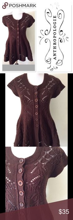 S ANTHROPOLOGIE Sparrow brown button up sweater Brand: Sparrow for anthropologie  Style: button up sweater  Size: small Material: 55% cotton 25% wool 20% nylon Features: button up front, fit n flare style,  Condition: vguc Anthropologie Sweaters