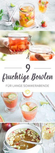 9 fruchtige Bowlen mit frischem Obst, etwas Wein und prickelndem Sekt sind bringen für durstige Gäste neuen Schwung auf der sommerlichen Garten-Party.
