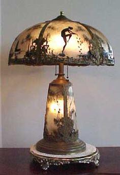 353: Massive 1920's Scenic Slag Glass Panel Lamp Signed : Lot 353 ...