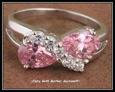 'Lovely Pink & White Topaz Bow Ring Sz 7.5' is going up for auction at  9am Sun, Aug 25 with a starting bid of $10.