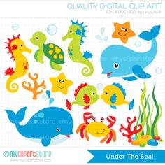 Under the Sea Clip Art / Digital Clipart  by MyClipArtStore, $3.99