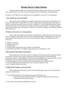 College Resume Tips Inspiration Marketing Resume Will Be All About On How A Person Can Make The .