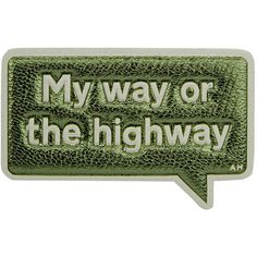 "Anya Hindmarch ""My Way Or The Highway"" Sticker ($70) ❤ liked on Polyvore featuring home, home decor, office accessories, green, anya hindmarch stickers, anya hindmarch, metallic stickers, personalized stickers and phone stickers"