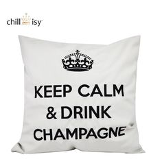 KEEP CALM & DRINK CHAMPAGNE silber/schwarz kissen pillow by chillisy® amzn.to/1A0Bxv5