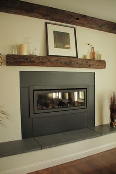 Fire place & mantel. I really like that the mantle is just a shelf above the fireplace.