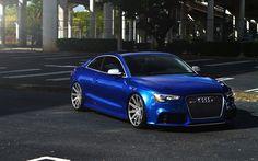 Descargar fondos de pantalla Audi RS5 Coupé, aparcamiento, tuning, coches alemanes, azul RS5, Audi