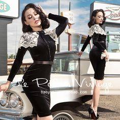 FREE SHIPPING Le Palais Vintage 2015 New Autumn Elegant  Black Velvet High Waist Embroidery Lace Collar Dresses Women Vestidos