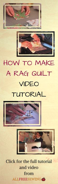 Christian Tamez illustrates the basics of making quick rag quilts. Watch as he explains how to sandwich the fabric and shows you how to sew the quilt together. Quilting Tools, Quilting Tutorials, Quilting Ideas, Rag Quilt Patterns, Sewing Patterns, Sewing Projects, Sewing Ideas, Baby Sewing, Quilt Blocks