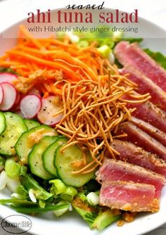 This seared Ahi tuna salad with ginger dressing is the perfect light summer meal! Healthy Steak Recipes, Tuna Steak Recipes, Seafood Recipes, Salad Recipes, Fresh Tuna Recipes, Healthy Eats, Ahi Tuna Steak Recipe, Grilled Tuna Steaks, Ahi Tuna Marinade