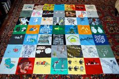 I want to do this with all my old concert t-shirts. It's getting hard to justify keeping them when I never wear them anymore... this is the perfect solution! Although I may end up with more than one quilt :/