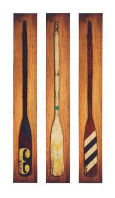 boat oar wall art print on canvas.  Beach house or lake house wall art. Shelley B Home and Holiday.com