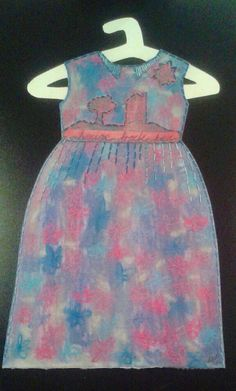 House Frau frock,  pastel and stitching on paper. Lynn Vare 2014.
