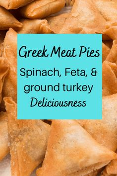 Made with ground turkey, spinach, and cheese, this Greek Meat Pie recipe is way easier than it looks, and tastes even better! Wrapped in phyllo triangles, they are similar to spanikopita, but hearty enough for dinner! No one will guess they are low cal and healthy. You can even make them ahead for a healthy lunch! Or a grab-and-go meal as they're good cold too! #greekmeatpie #spanikopita #healthyrecipe Ground Turkey Meat Pie Recipe, Greek Meat Pie Recipe, Healthy Ground Turkey, Ground Turkey Recipes, Healthy Italian Recipes, Easy Healthy Recipes, Delicious Recipes, Winter Dinner Recipes, Easy Dinner Recipes