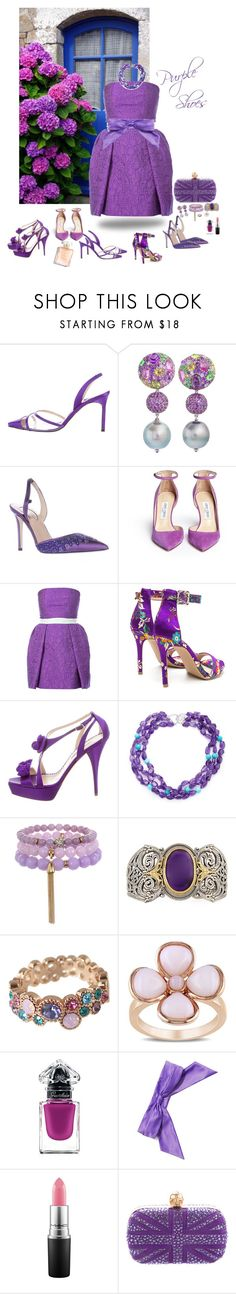 """Purple shoes ...For the Ultimate Shoe Lovers"" by deborah-518 ❤ liked on Polyvore featuring Manolo Blahnik, Margot McKinney, SJP, Jimmy Choo, Mary Katrantzou, Oscar de la Renta, Arthur Marder Fine Jewelry, Konstantino, Miadora and Guerlain"