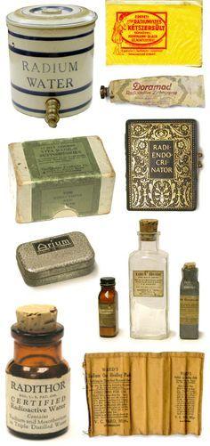 Medicinas que incluían Radio (1930). La más famosa el Radithor. Muy de moda después de su descubimiento por los Curie