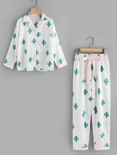 Shop Cactus Print Top And Drawstring Waist Pants online. SheIn offers Cactus Print Top And Drawstring Waist Pants & more to fit your fashionable needs. Cute Pajama Sets, Cute Pjs, Cute Pajamas, Pajamas Women, Dog Pajamas, Girls Fashion Clothes, Teen Fashion Outfits, Clothes For Women, Cute Dresses