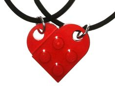COOL!! HIS & HERS LEGO HEART NECKLACES:: Red Lego Heart Necklace Set, Friendship, Love: Jewelry