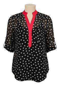 3/4 sleeve contrast trim dot print blouse - maurices.com