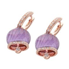 Campanelle - 26920 - Orecchini medi in oro rosa, diamanti e ametista