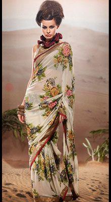 floral georgette sari #saree #sari #blouse #indian #outfit  #shaadi #bridal #fashion #style #desi #designer #wedding #gorgeous #beautiful