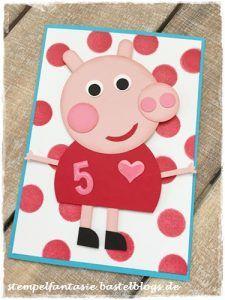 Stampin Up_Peppa Pig_Kinder_Geburtstag_Einladung_Birthday_Peppa Wutz_Schwein_Punch Art_Punkte_Tuerkis_Glutrot_Stempelfantasie