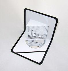 3D POP UP SCULPTURE CaRD of Geometric Shapes w/Mirror di BoldFolds