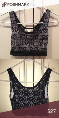 Urban Outfitters~ Black festival Crop Top Black crop top with lace details and crochet back. Can be worn alone or underneath a low cut shirt. Very comfy. Lined. Size small. Bought from Urban Outfitters Urban Outfitters Tops Crop Tops