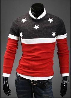 Men's Round Collar Star Sweater - TrendSettingFashions - 5