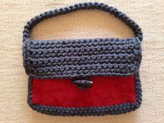 Borsa crochet fettuccia + pelle by Paola Cognigni