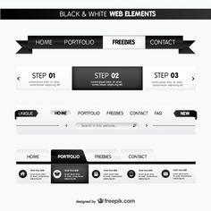 黒と白のウェブ要素
