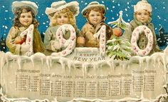 A beautiful Edwardian New Year's greeting and calender from 1910. #vintage #New_Year #card