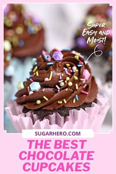 Looking for the PERFECT chocolate cupcake? This is it—the best homemade chocolate cupcake ever. It's got a strong chocolate flavor, a beautifully moist texture, and pairs with just about any frosting. | From SugarHero.com  #sugarhero #chocolatecupcakes #cupcakerecipe #homemadecupcakes