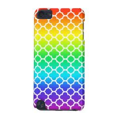 White Rainbow Quatrefoil Pattern iPod Touch (5th Generation) Case by TigerLynx, from Zazzle. Also available on other customizable products.