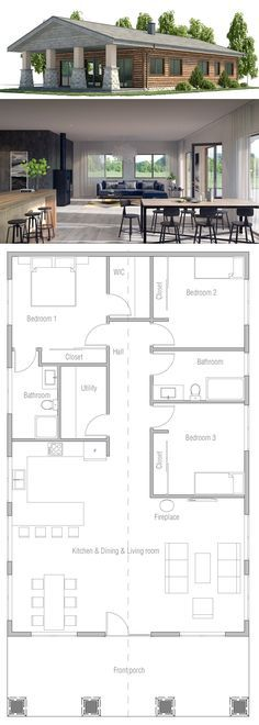 Small House Plan (bedroom 3 Turned Into A Library/study Area And Door To  Bathroom Moved Inside Bedroom