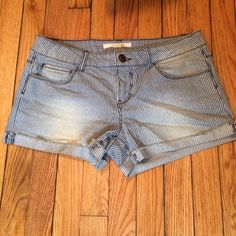 Blue & White Pinstripe Cuffed Shorts Gently worn. Great condition.  Forever 21 Shorts