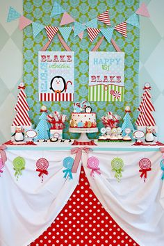 Winter Candyland dessert table. #dessert #table
