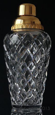 Cocktail Shaker 50s 60s Mid century Crystal glass Gold / Vintage Barware Bar set Home bar Bar accessories Bar tools