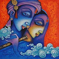 Radha Krishna (Acrylic Painting by Rajat Nandi) Ganesha Painting, Buddha Painting, Buddha Art, Madhubani Art, Madhubani Painting, Arte Krishna, Krishna Radha, Fabric Painting, Painting & Drawing