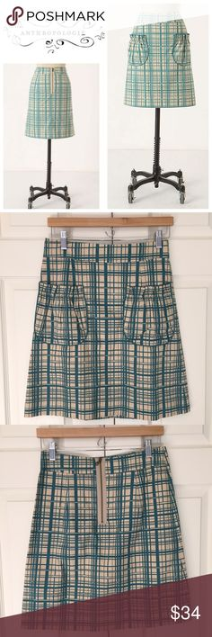 "Anthropologie NWT Lane Change Grid Print Skirt so cute! new with tags ""Lane Change"" skirt from Girls from Savoy for Anthropologie. features exposed zipper on back and front patch pockets. fully lined. 100% cotton. size 2. waist flat is 13.75"", length is 20.25"". Anthropologie Skirts"