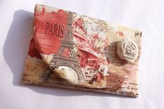 Retro Paris clutch Eiffel tower French love post by LaMuseChic, $34.90