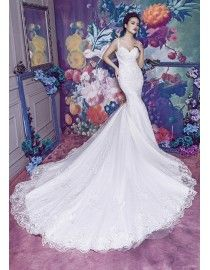 Sexy sweetheart anne queen neckline lace appliques crystals pearls beaded accent mermaid fit and flare chapel train wedding dresses 2017 HB-711