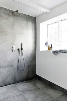 Ground floor bath - Light Grey floor and Walls in shower. Other walls White/ really light plaster Ikea Bathroom, Bathroom Toilets, Bathroom Inspo, Laundry In Bathroom, Bathroom Inspiration, Modern Bathroom, Master Bathroom, Diy Crafts For Home Decor, Scandinavian Bathroom