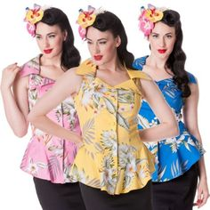 HELL-BUNNY-NIOHA-FLORAL-TROPICAL-HAWAII-PRINT-FITTED-BLOUSE-L8B