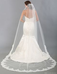 V7336C Unbeaded Alençon lace cathedral veil ***Available for order at A Curvy Bride***