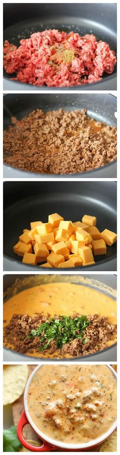 Beef Queso Dip – An incredibly velvety, meaty queso dip that is completely irresistible, and you can make it in just 15 minutes! Beef Queso Dip – An incredibly velvety,… Think Food, I Love Food, Gula, Yummy Food, Tasty, Snacks Für Party, Party Dips, Football Food, Game Day Food