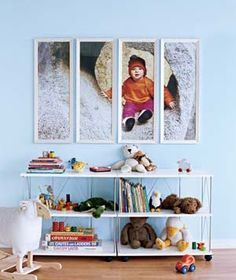 Take an enlarged photograph & split evenly between 4 frames & hang.  Picture from Real Simple via Design Dazzle found on Gordon Gossip's blog.