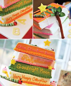 Such a cute Baby shower idea! 10 Creative Childrens Book Themed Baby Shower Ideas + Free Printable Quiz Bookplates-could use the mama's favorite childhood book Baby Shower Cakes, Baby Boy Shower, Baby Shower Gifts, Baby Gifts, Cute Baby Shower Ideas, Baby Shower Themes, Baby Shower Book Theme, Babyshower, Baby Shower Planner