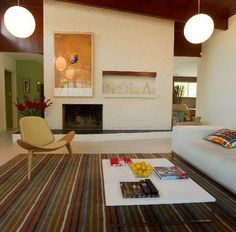 Image result for mid century modern fireplace