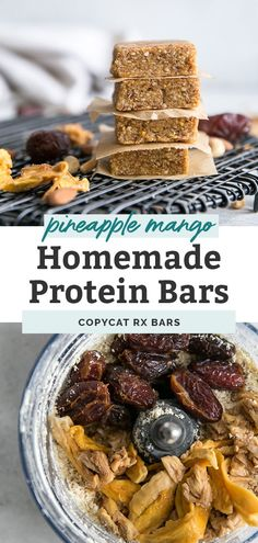Homemade protein bars like copycat RX bars that are paleo friendly and compliant. Three main ingredients, other mix-ins and a food processor are all you need! Protein Snacks, Easy Protein Bars, Protein Bar Recipes, Beef Recipes, Real Food Recipes, Healthy Snacks, Healthy Recipes, Love Food, A Food