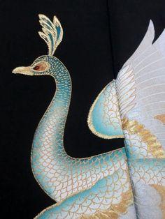 Japanese Kimono Silk Black Tomesode Peacock Cool P120215   eBay